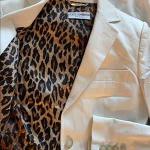 Dolce and Gabbana peaked lapel white blazer